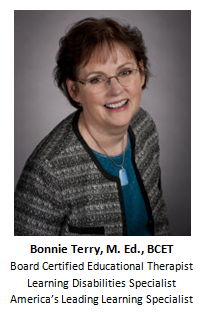 Bonnie Terry M Ed BCET, reading help, writing help, spelling help, math help, dyslexia, ADHD