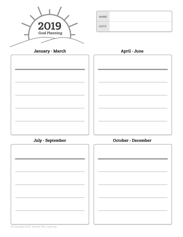 2019 Goal Planning Graphic Organizer