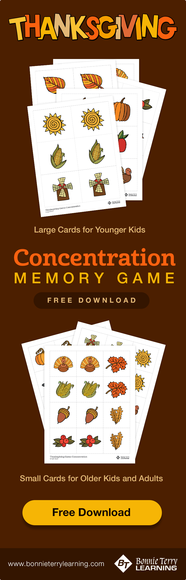 Thanksgiving Memory Matching Concentration Game