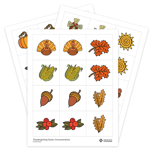 Thanksgiving Memory Game Concentration